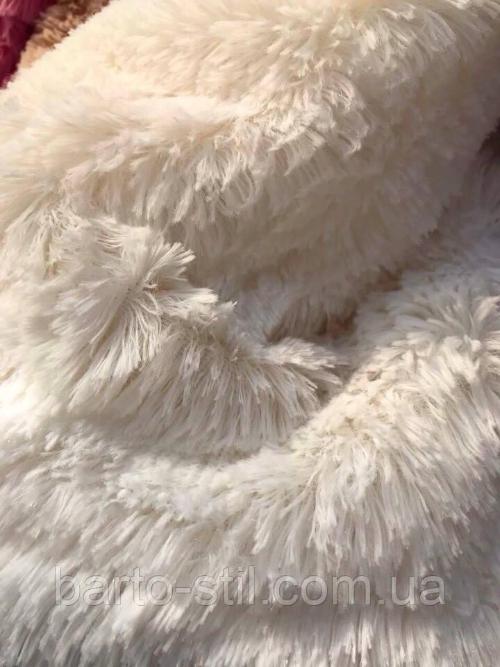 """Покривало-плед  из искусственного меха """"Мишка"""" 220 на 240   Молочного цвета ."""