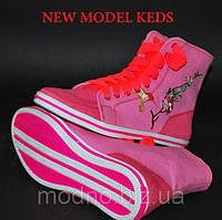 """Высокие женские кеды """"Сакура"""" IK-138 (розовый), фото 1"""