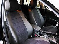 Авточехлы из экокожи с черной алькантарой на  Ford Fiesta MK 5 с 2001-2008г. хэтчбек 5 дверей