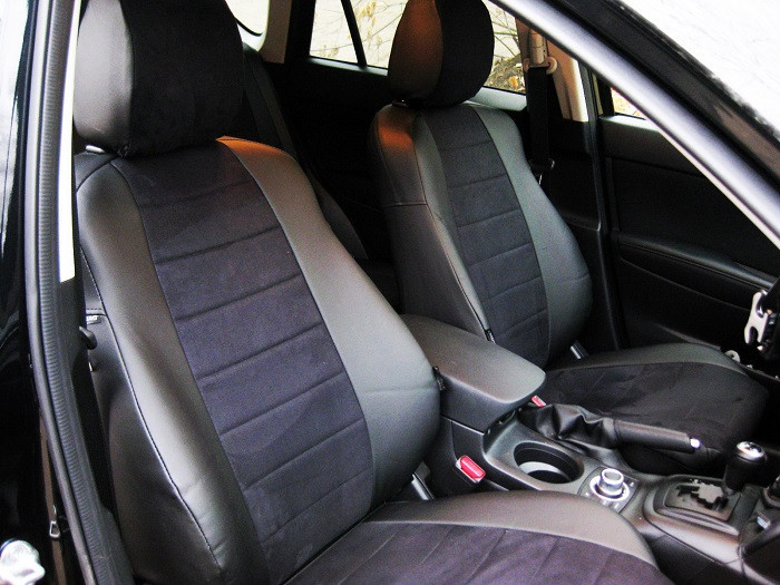 Авточехлы из экокожи с черной алькантарой на  Ford Kuga 1 с 2008-2012г. Джип