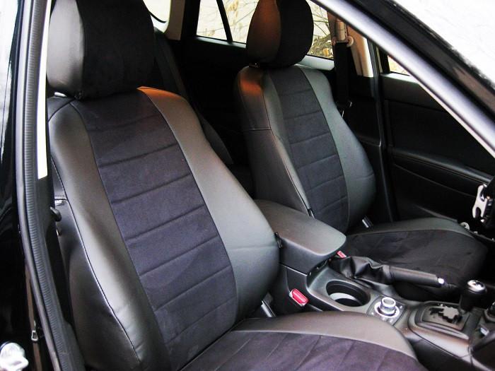 Авточехлы из экокожи с черной алькантарой на  Renault Scenic 2 c 2003-2009г. Компактвэн