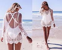 Пляжная туника кофточка женская гипюровая OASAP белая ,магазин пляжной одежды