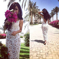 Пляжная туника женская длинная гипюровая OASA белая ,магазин пляжной одежды