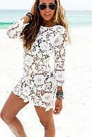 Пляжная туника женская с кружевом и открытой спинкой,магазин пляжной одежды