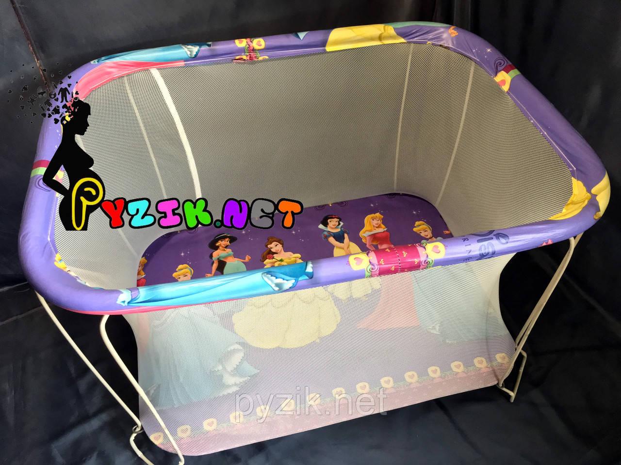"""Манеж детский с мелкой сеткой Kinderbox """"Принцессы"""""""