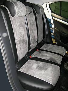 Авточехлы из экокожи с серой алькантарой на  Audi 80 В3 с 1986-1991г. Седан.