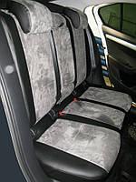 Авточехлы из экокожи с серой алькантарой на  Mazda 3 c 2003-2010г. Хэтчбек.