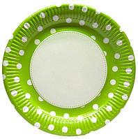 """Тарелочка """"ярко-зеленая в горошек"""" 23 см диаметр"""