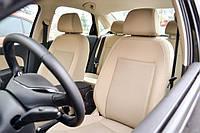 Авточехлы из экокожи бежевые на  Mazda 3 c 2003-2010г. Хэтчбек.