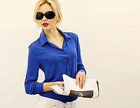 Блузка женская cиняя шифоновая