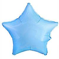 Шар фольгированный звезда 46 см голубая пастель