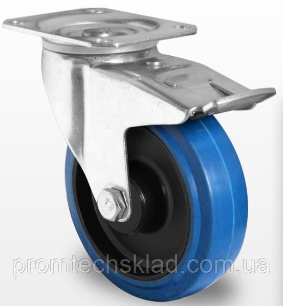 Колесо поворотное с тормозом, роликовый подшипник 100 мм, эластичная резина/полиамид (Германия)
