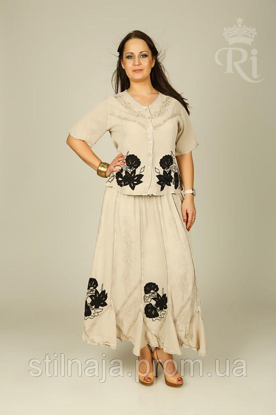 057b158f47f Летний женский костюм с коротким рукавом блуза и юбка большие размеры -  Интернет магазин «Stilnaja