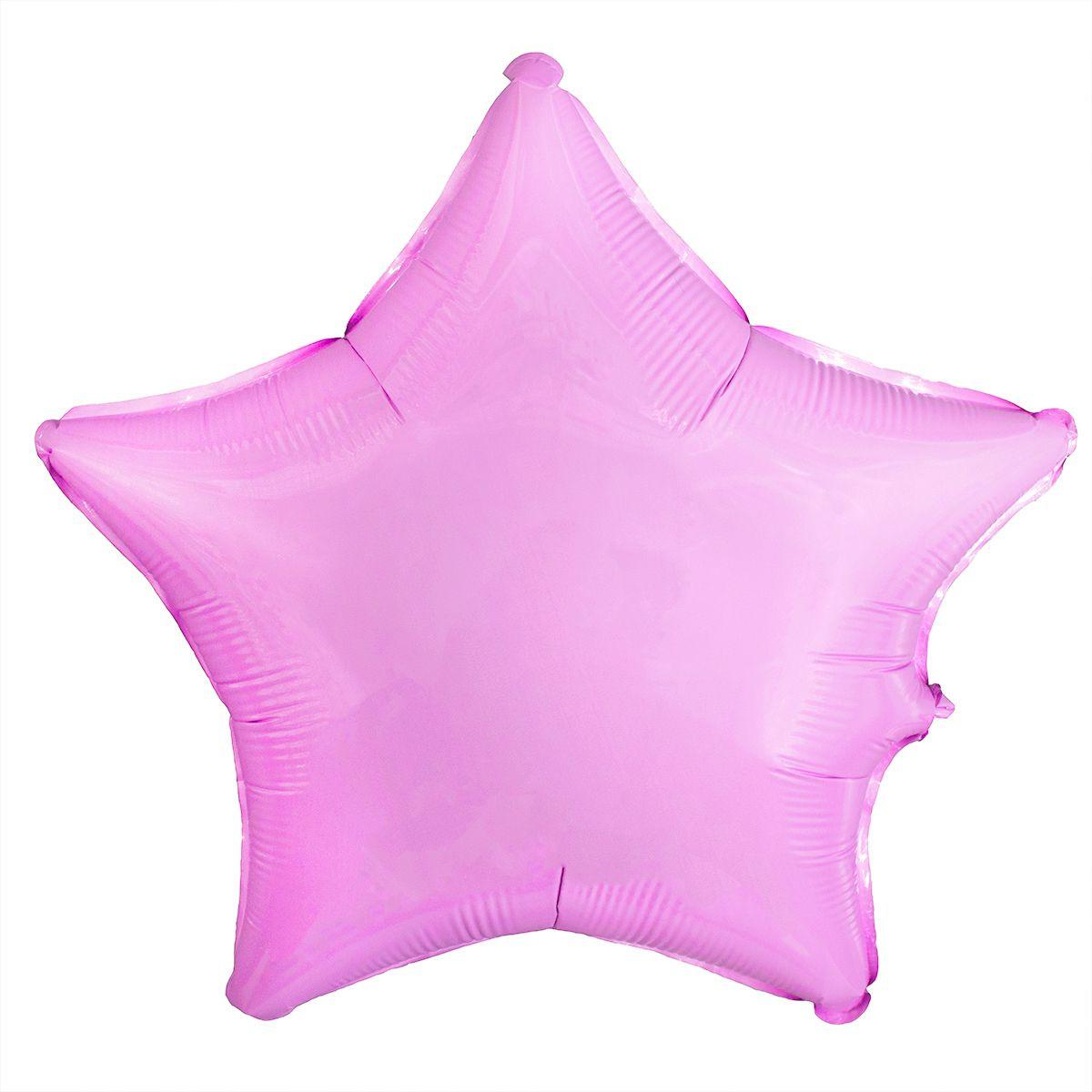 Шар фольгированный звезда 46 см розовая пастель (гелий)