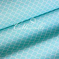 Хлопковая ткань Черепичка бирюзовая