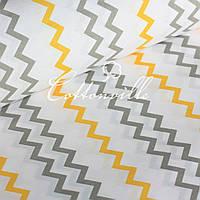 ✁ Отрезы бязи Зигзаги желто-серые, фото 1