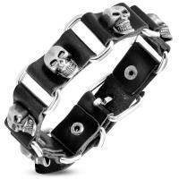 Кожаный браслет со вставками черепа BHY 585