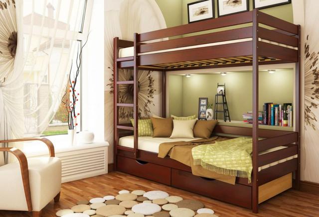 Кровать двухъярусная Дуэт тм Эстелла цвет №104 Красное дерево (Бук Щит) ящики ДСП