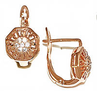 Серьги Xuping, цвет советского золота . Камень: белый циркон . Высота серьги 1,2 см. ширина 8 мм.
