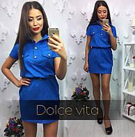 Платье красивое джинсовое в горошек с поясом ММ-03.022