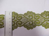 Мереживо вставка гіпюр на сітці  зелена 5,5см. Тайланд