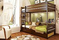 Кровать Дуэт тм Эстелла 90х190/200, №101 Тёмный орех (Бук Массив), фасад+ящики из ДСП (Массив)