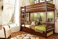 Кровать Дуэт тм Эстелла 90х190/200, №103 Светлый орех (Бук Массив), фасад+ящики из ДСП (Массив)