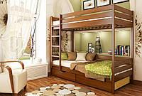 Кровать Дуэт тм Эстелла 90х190/200, №105 Ольха (Бук Массив), фасад+ящики из ДСП (Массив)
