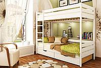 Кровать Дуэт тм Эстелла 90х190/200, №107 Белый Акрил (Бук Массив), фасад+ящики из ДСП (Массив)