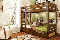 Кровать Дуэт тм Эстелла 90х190/200, №108 Каштан (Бук Массив), фасад+ящики из ДСП (Массив)