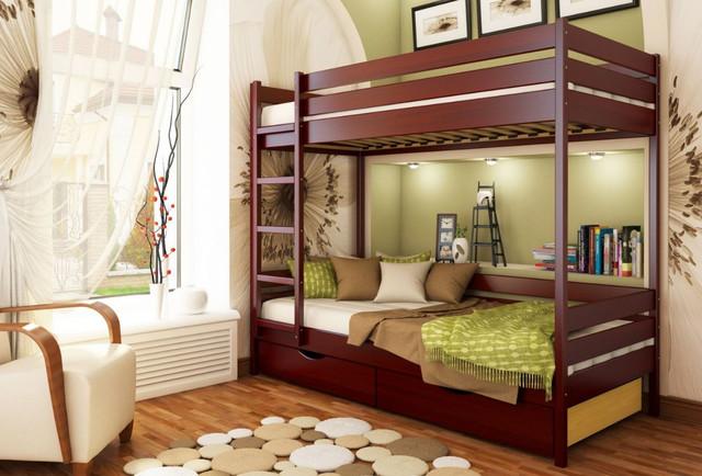 Кровать двухъярусная Дуэт тм Эстелла цвет №104 Красное дерево (Бук Массив) ящики ДСП