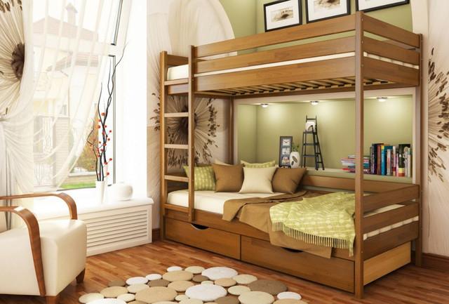 Кровать двухъярусная Дуэт тм Эстелла цвет №103 Светлый орех (Бук Щит) ящики ДСП