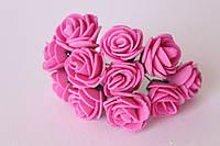 Роза из латекса,фоамирана 2,5-3см малиновые