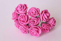 Роза из латекса 2,5-3см,малиновая