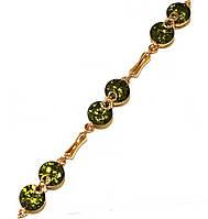 Браслет женский ХР.Цвет позолота. Камни: оливковый циркон. Длина 17-20 см. Ширина 6 мм