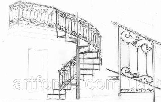 Кованые винтовые лестницы, балконы, ограждения террас