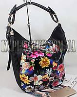 Женская оригинальная комбинированная черная сумка c цветочным принтом