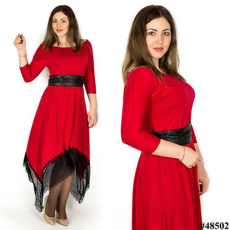 Красное платье 48502, большого размера, фото 2