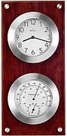 Часы настенные с термометром и гигрометром BULOVA C3735 (370 x 170 x 40 мм) [Металл+Дерево]