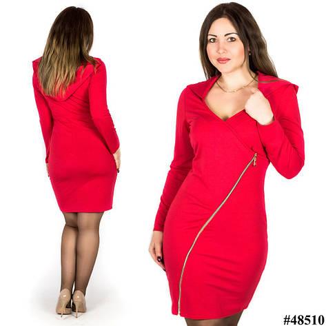 Красное платье 48510, большого размера, фото 2