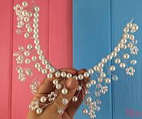 Гнущаяся диадема украшение в прическу из жемчуга и кристаллов