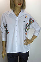 Блузка белая с вышивкой KTN