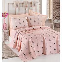 Покрывало пике Eponj Home - Flamingo Pudra вафельное 160*235