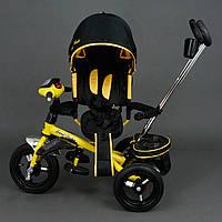 Трехколёсный детский велосипед Best Trike 6590 желтый с надувными колесами