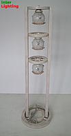 Торшер деревянный напольный на 3 плафона
