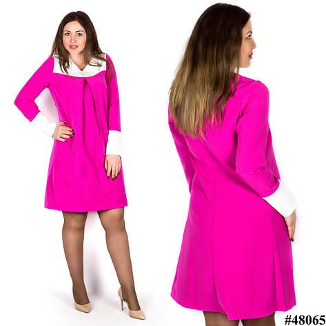 Розовое платье 48065, большого размера, фото 2