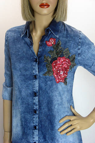 Джинсовая рубашка-туника   Donna Lila, фото 2