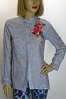 Блузка в полоску с вышивкой Amorti