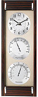 Часы настенные с барометром и гигрометром BULOVA C3733 (393x146x50 мм) [Дерево]