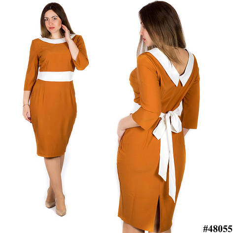 Горчичное платье 48055, большого размера, фото 2